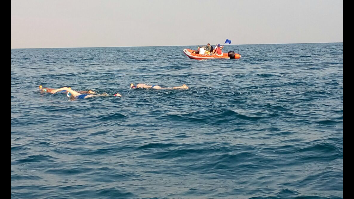 Swimmers crossing the Dead Sea. Photo courtesy of EcoPeace Middle East