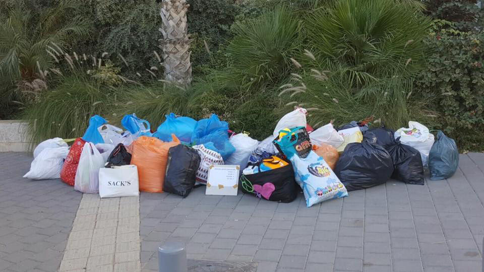 Donations piling up for fire victims in the town of Neve Tzuf. Photo via Facebook