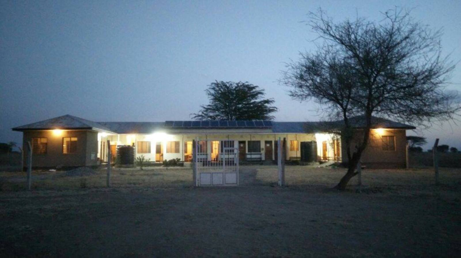 Nkaiti Medical Center, lit up at night for the very first time thanks to Israeli engineering students. Photo via Facebook