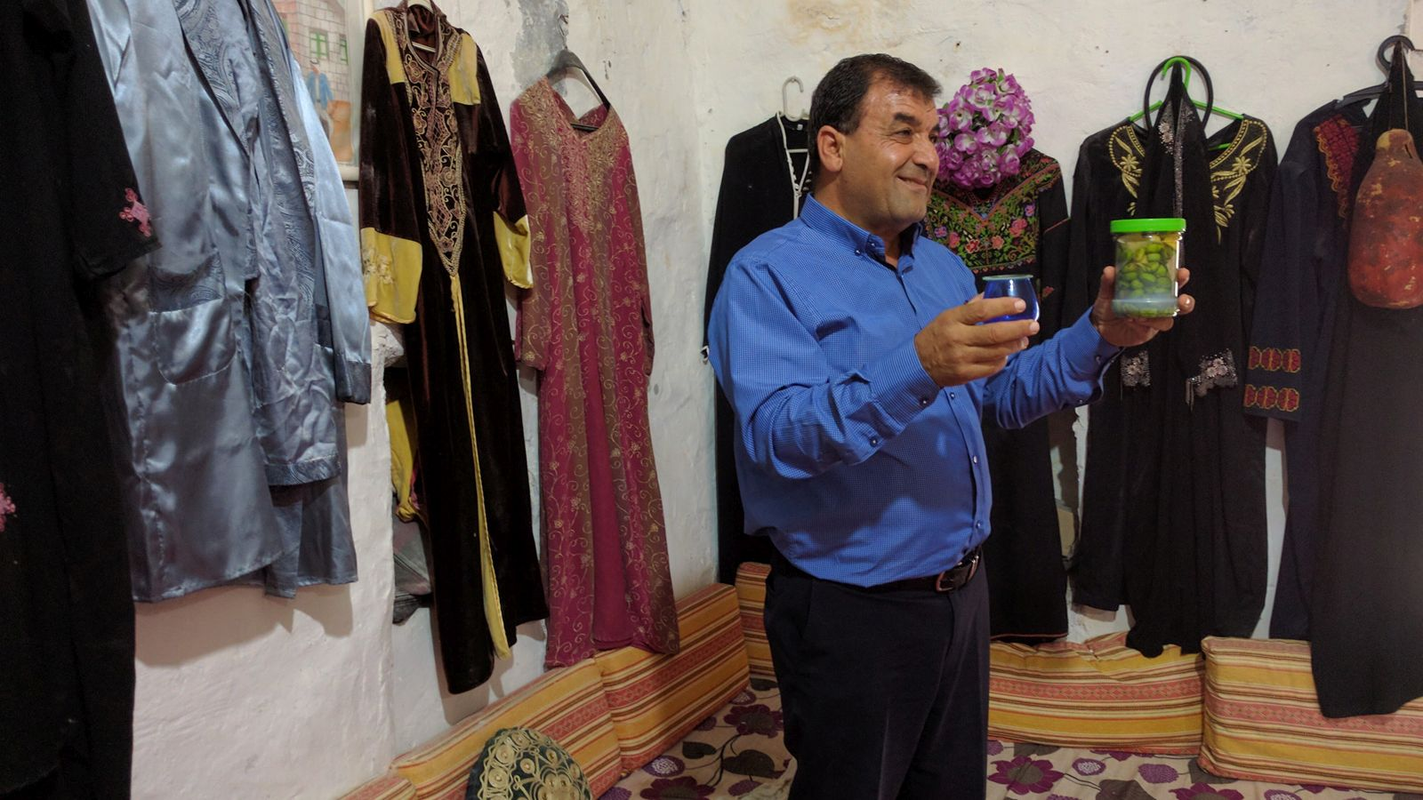Dr. Mazen Ali talking olive oil in Deir Hanna. Photo by Viva Sarah Press