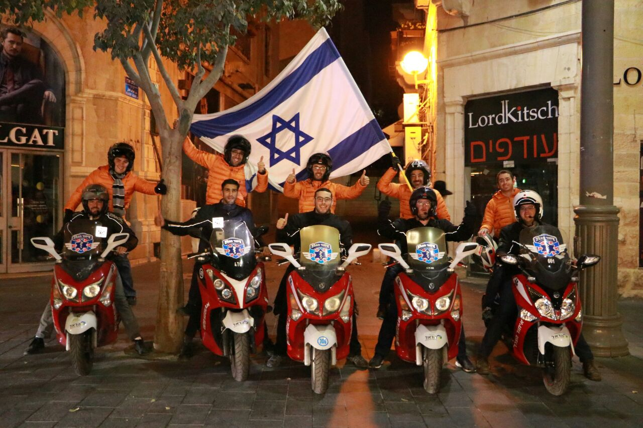 Hatzalah of Mexico volunteers riding on ambucycles with United Hatzalah volunteers. Photo by Meir Lavi – United Hatzalah