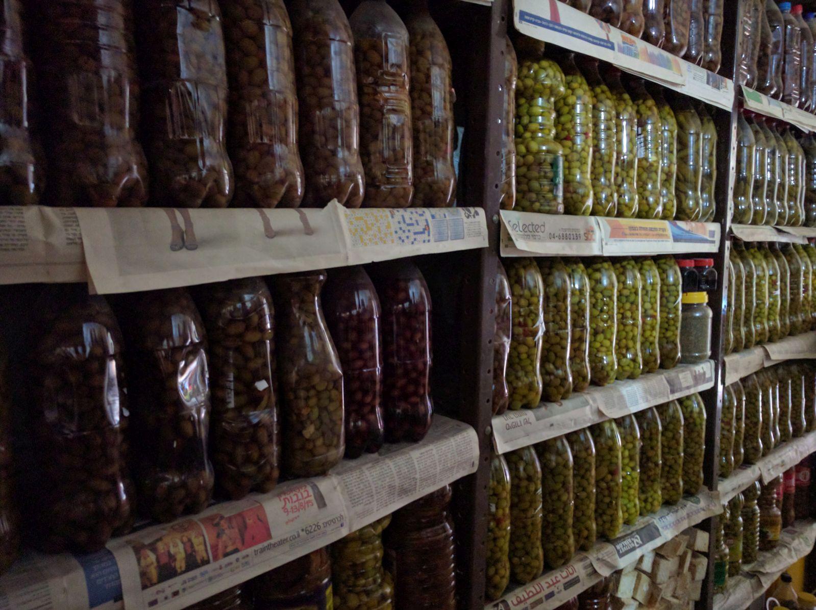 Olives marinating in the Abu Morris house in Deir Hanna. Photo by Viva Sarah Press