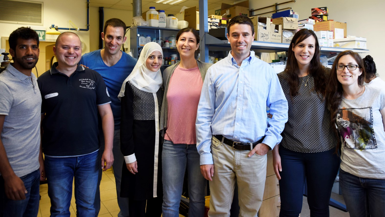 Assistant Prof. Avi Schroeder, third from the right, and doctoral student Zvi Yaari, second from left, with the Technion research team. Photo credit: Omry Dinner