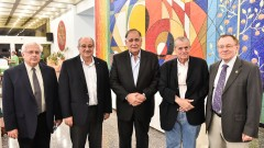 Professor Ze'ev Ronai, Technion President Professor Peretz Lavie, Haifa Mayor Yona Yahav, Nobel Prize Laureate Distinguished Professor Aaron Ciechanover and Professor Rafael Beyar, Director General of Rambam Health Care Campus. Photo by Nitzan Zohar, Technion Spokesperson's Office