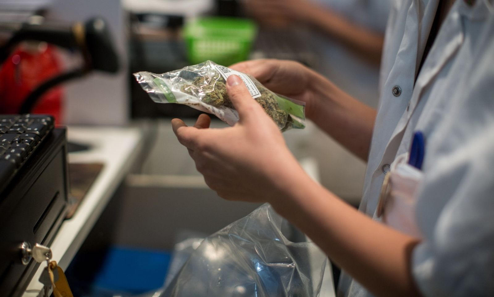 A pharmacist dispensing medical marijuana at the Tikun Olam store in Tel Aviv. Photo by Hadas Parush/FLASH90