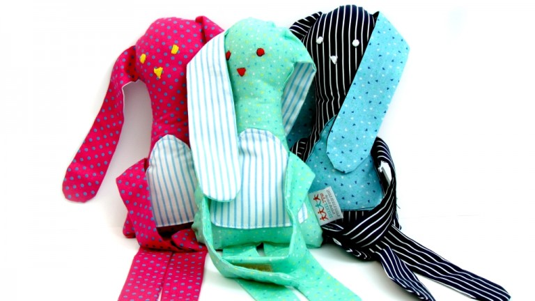 These stuffed bunnies are made by people with mental disabilities at SHEKEL. Photo courtesy of Buy for Good