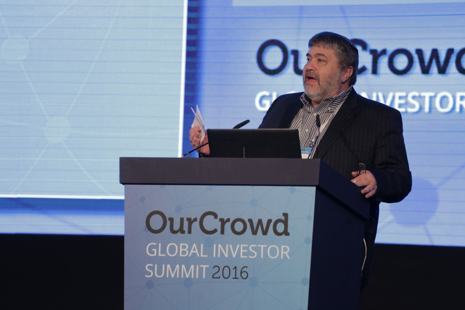 OurCrowd CEO Jon Medved speaking at the 2016 OurCrowd Global Investor Summit in Jerusalem. Photo courtesy