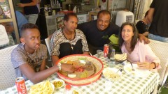 Lori Bacher with Nobel and his mother and restaurateur Asi Zaoda at Zaoda's Ra'anana eatery. Photo by Doron Bacher