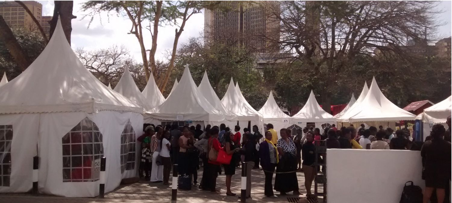 Women lining up for cervical cancer screenings in Kenya. Photo courtesy of MobileODT