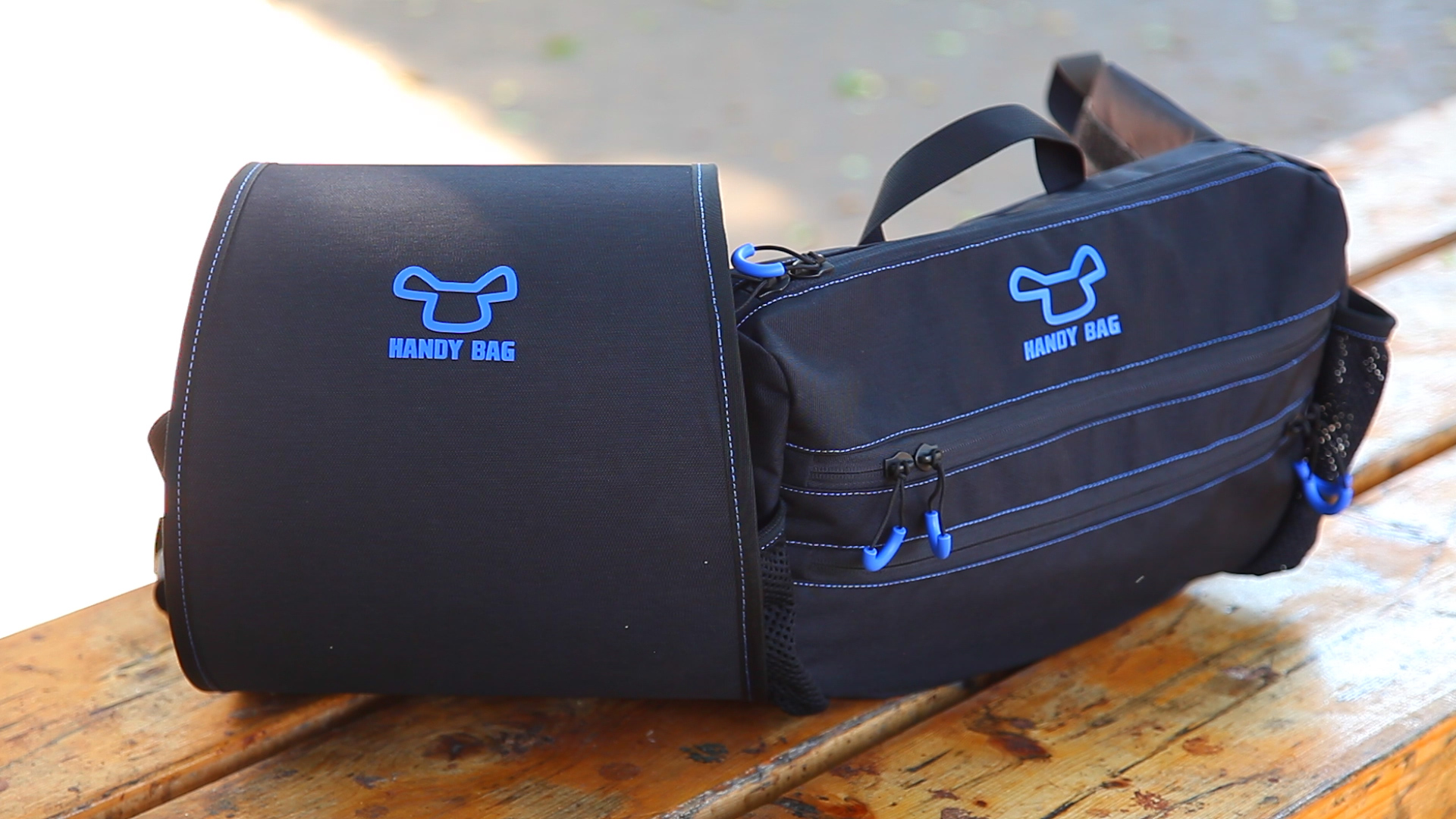 Handy Bag's Dynamic Bag is easily removable from a carrier attached to the back of the chair. Photo: courtesy