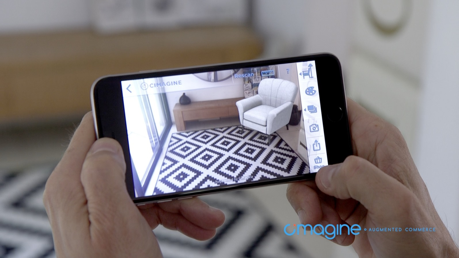 Cimagine's AR commerce platform lets people see how objects will look in their surroundings. Photo: courtesy
