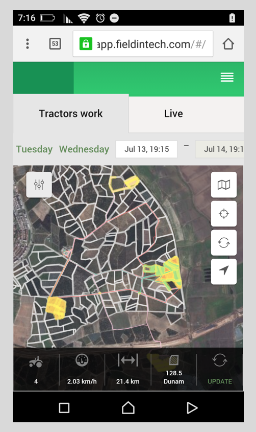 The FieldIn app helps field scouts monitor conditions. Screenshot: courtesy