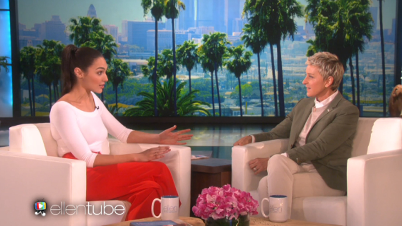 Gal Gadot talks superheroes on the Ellen Degeneres Show. Photo: screenshot