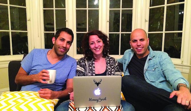 HoneyBook CTO Dror Shimoni, left, with Naama and Oz Alon. Photo: courtesy