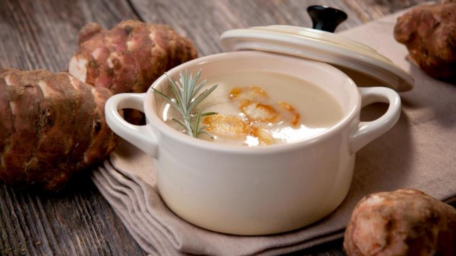 Café Sofia's cream of Jerusalem artichoke soup. Photo courtesy of The Inbal Hotel
