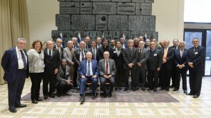 President of Israel Reuven Rivlin (seated, left) and President of the Hebrew University Prof. Menahem Ben-Sasson (seated, right), meet with rectors from universities in Latin America. Photo by Mark Naiman/GPO