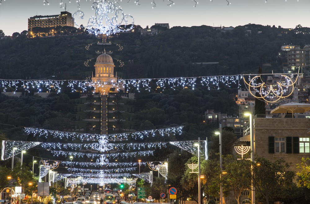 the german colony in haifa is decorated for the holidays photo by shutterstockcom