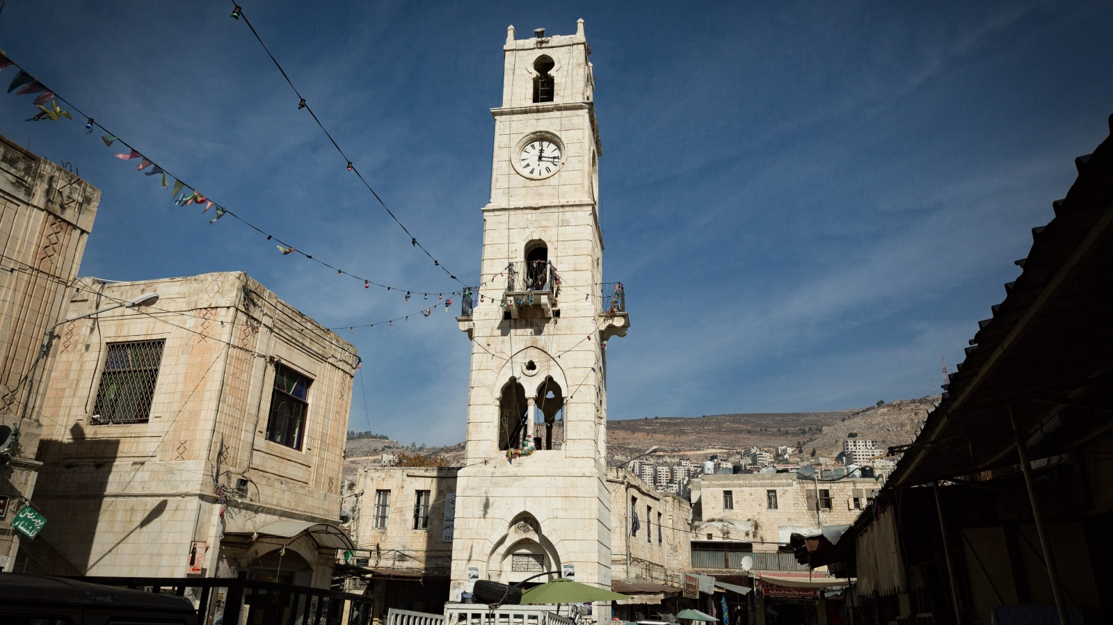 The al-Manara clock tower was built in 1906 in Nablus, now in the Palestinian Authority-administered territories. Photo by Sebi Berens/FLASH90