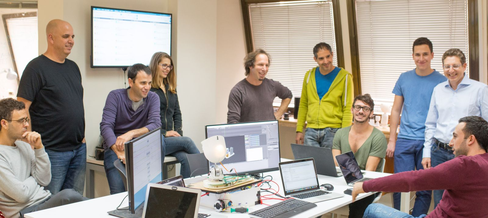 Intuition Robotics team, from left: Shlomi Azoulai, Roy Amir, Itai Mendelsohn, Keren Etkin, Boaz Barkai, David Edery, Itai Perez, Tomer Schlesinger, Dor Skuler, Islam Heralla. Photo: courtesy