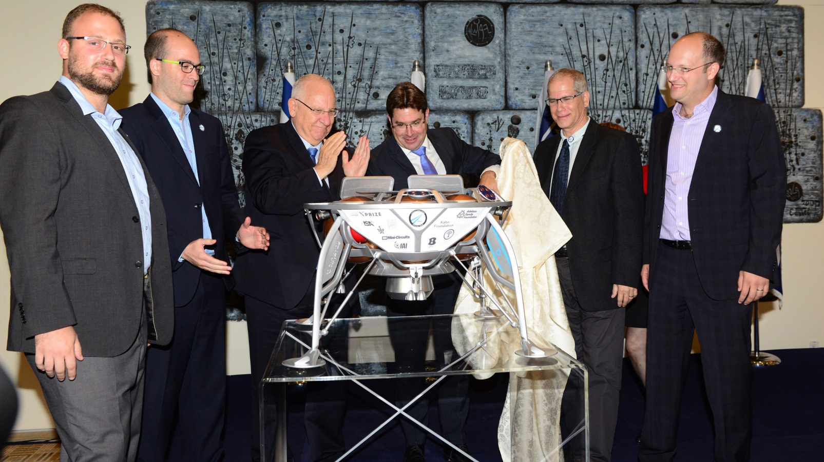 A prototype of SpaceIL's robotic spacecraft being unveiled for Israeli President Reuven Rivlin. Photo: courtesy