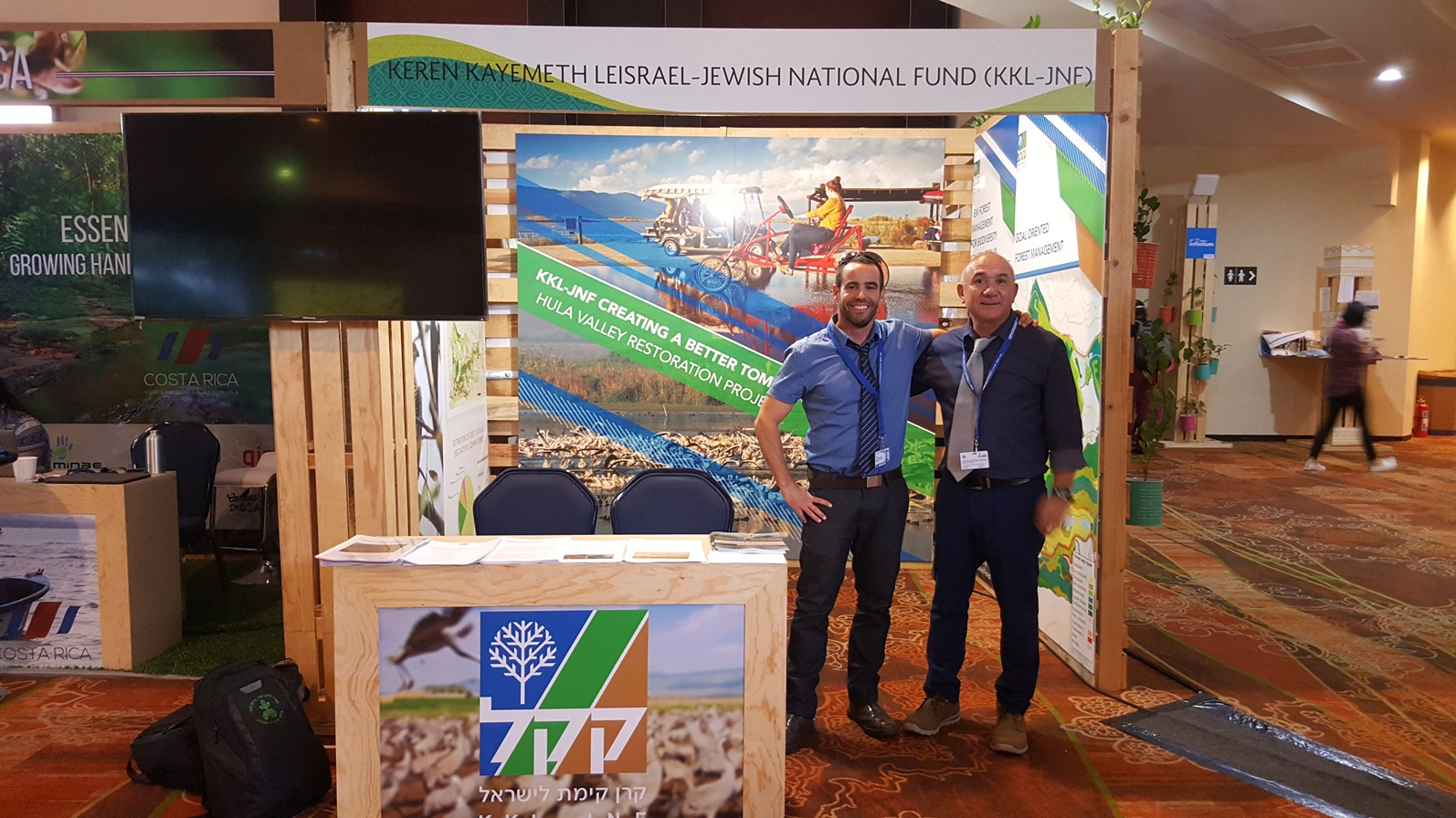 KKL-JNF Hula Valley and Golan Heights Forester Efi Naim, left, and KKL-JNF Landscape Architect and Ecologist Yahel Porat at the UN Biodiversity Conference in Cancun, Mexico, in December 2016. Photo: courtesy