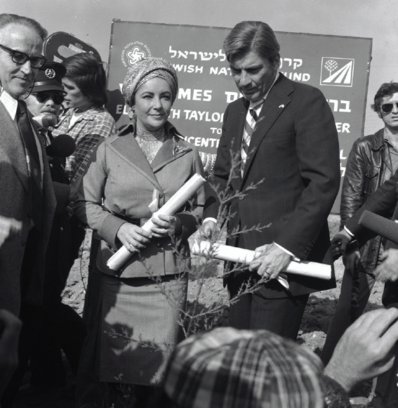 Elizabeth Taylor at a planting ceremony in her honor in Nes Harim, Israel, in 1978. Photo courtesy of KKL-JNF Archive