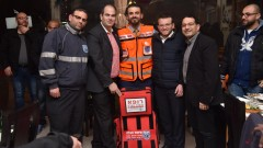 Dr. Murad Odeh, center, with the directors of Israel's national volunteer EMS organization, United Hatzalah. Photo: courtesy
