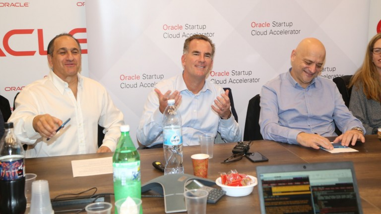 Oracle Senior Vice President of Product Development Reggie Bradford with Oracle VP Marketing Israel Ilan Spiegelman, left, and Oracle Israel Country Leader Uzi Navon. Photo by Sally Farag