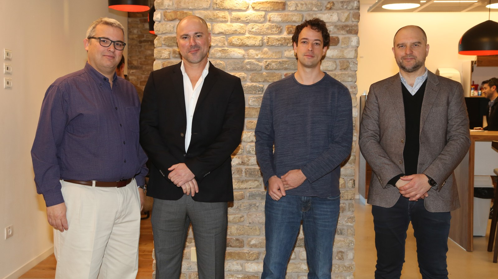 Attending the January 2017 launch of the Oracle Startup Cloud Accelerator in Tel Aviv are, from left, Avi Stern, CFO at Wix, Moshe Selfin, COO/CTO and partner at Credorax, Gil Hoffer of Oracle Ravello and Daniel Zaturansky, cofounder and COO of Powtoon. Photo by Sally Farag