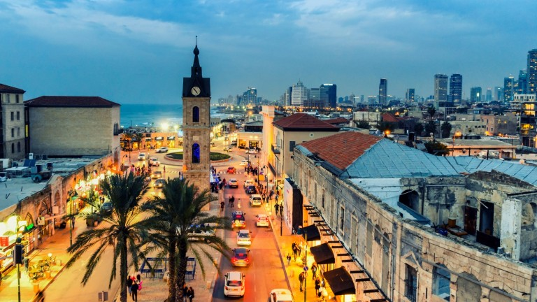 The Jaffa clock tower dominates Clock Square, a landmark at the entrance to the Jaffa section of Tel Aviv. Photo by JekLi/Shutterstock.com