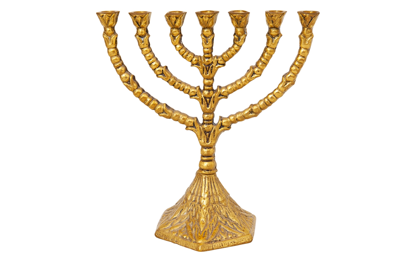 Image of the golden menorah by Evikka/Shutterstock.com