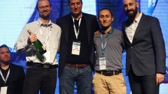 APERIO Systems team celebrates win at CyberTech 2017. From left to right- Yevgeni Nogin, Yoav Leitersdorf, Michael Shalyt, Ofer Schreiber. Photo by Gilad Kavalerchik