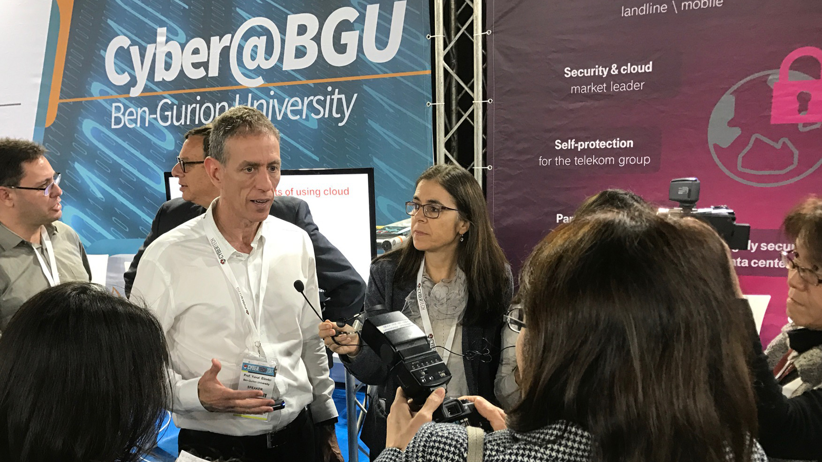 Yuval Elovici of Ben-Gurion University's Cyber Security Research Center speaking with the press at Cybertech 2017. Photo by Viva Sarah Press