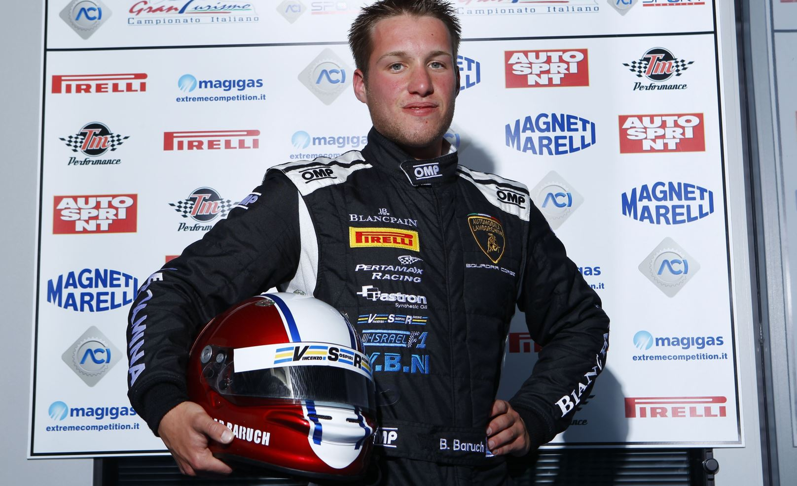 Israeli racecar driver Bar Baruch at the Italian Super GT Cup in 2016. Photo via http://www.acisportitalia.it/