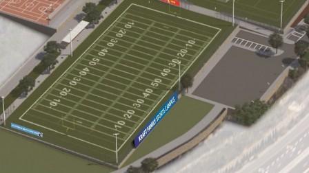 Illustrative design of new American football field in Israel. Photo via Dagan Company