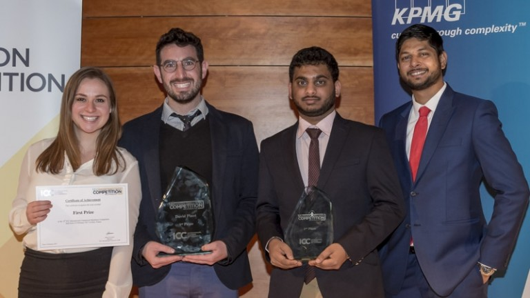 Rachel Rhodes and Daniel Winer (on left), students at College of Law and Business (CLB) in Ramat Gan, are the 2017 champions of the annual ICC International Commercial Mediation Competition. Photo courtesy
