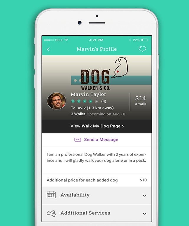 The Dogiz app lets owners book and pay for walks and other services.