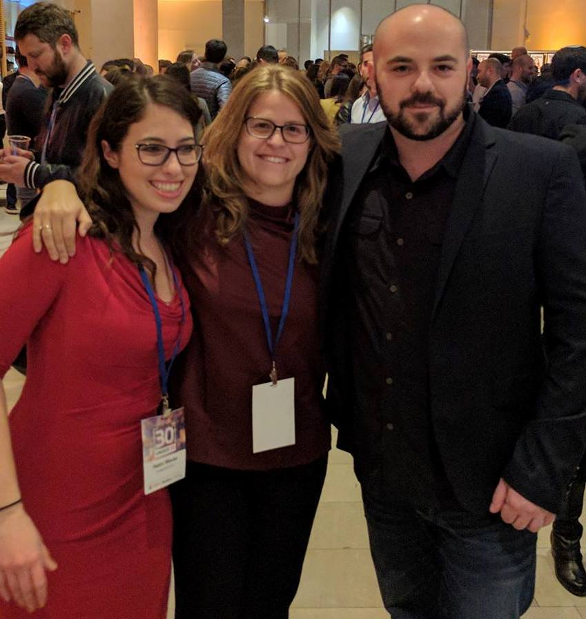 From left, Helen Wexler, Lior Grunhaus and Roy Munin at the Forbes 30 Under 30 announcement in Israel. Photo via Facebook