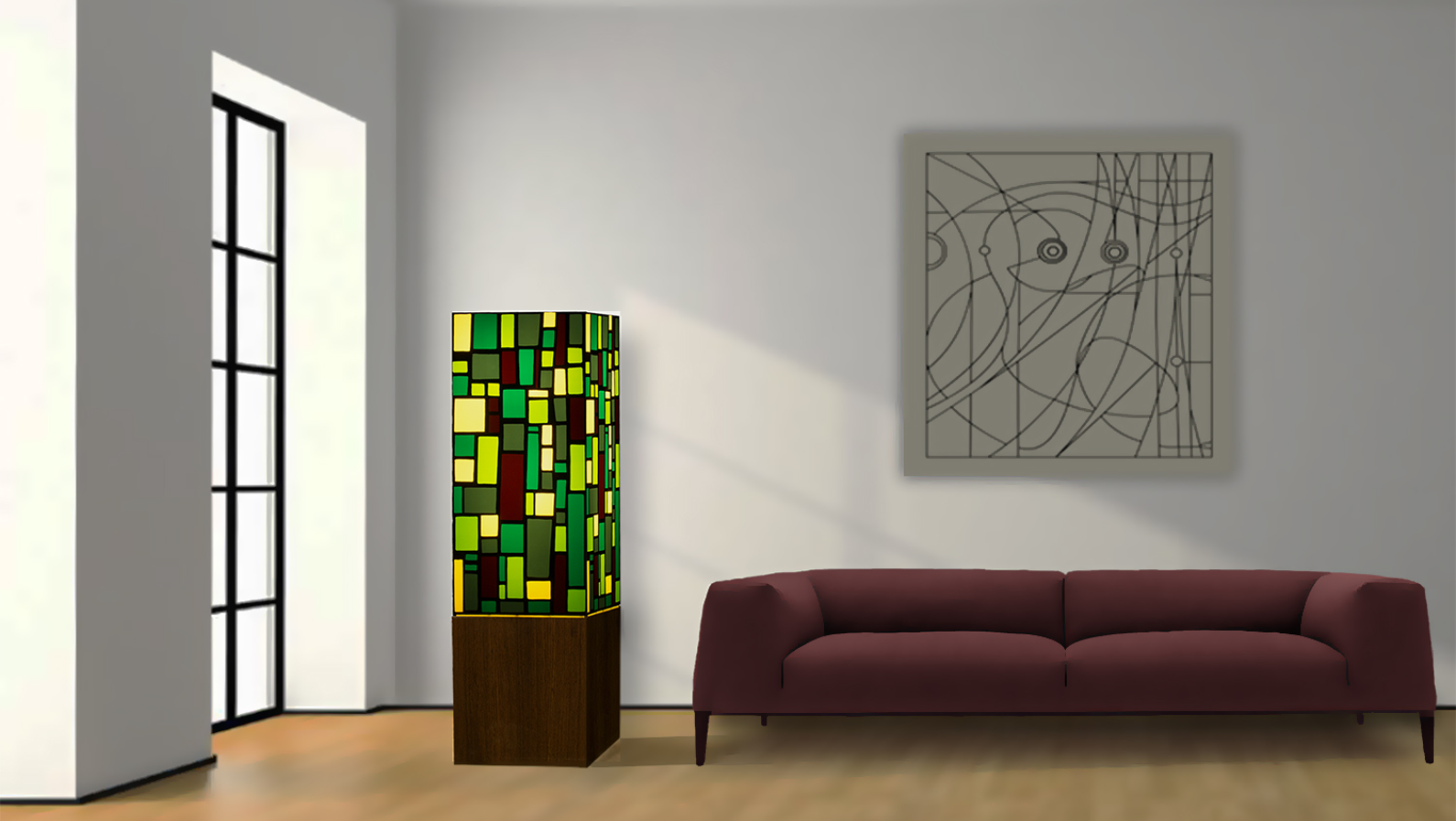 Yigal Abiri's Green Parade fixture is made of stained glass on a steel or wood base. Photo: courtesy