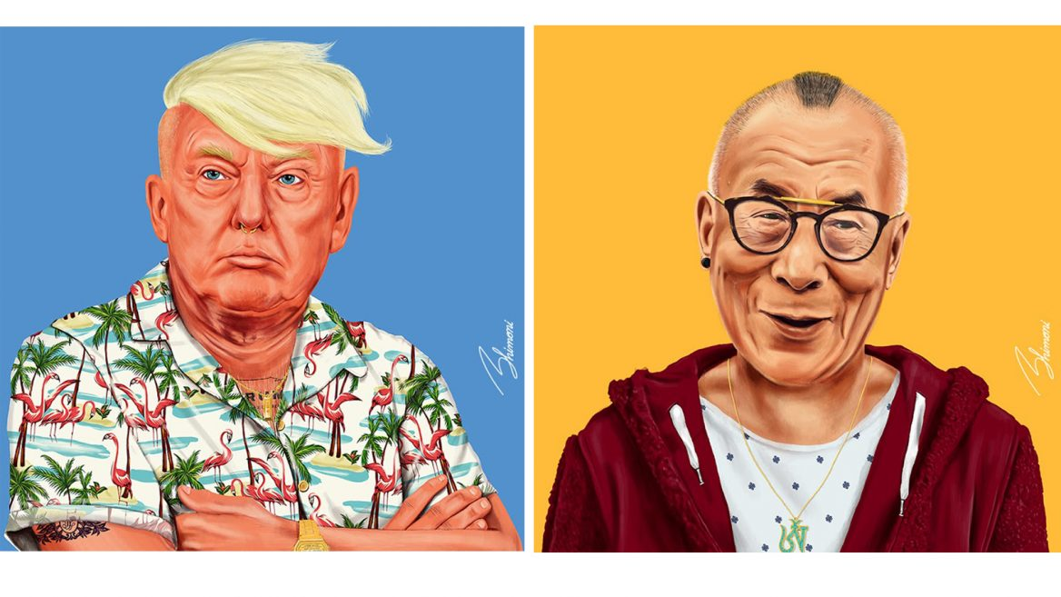 40e6c0a55 US President Trump and the Dalai Lama reimagined by Amit Shimoni.