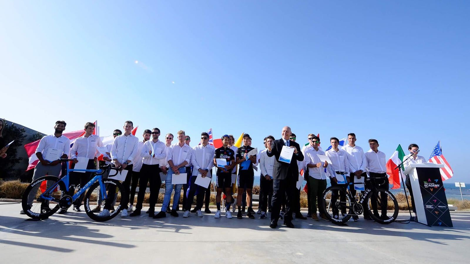 8b7b27a8c02 The Israel Cycling Academy team at the Peres Center in Jaffa