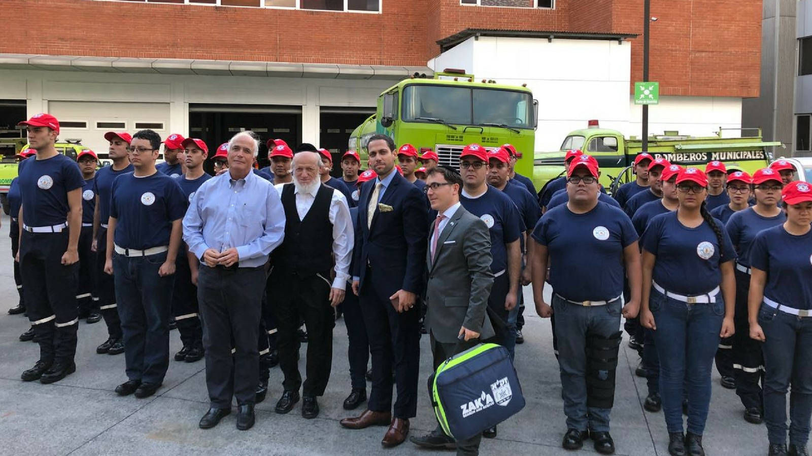 ZAKA met with the fire service in Guatemala. Photo courtesy of ZAKA