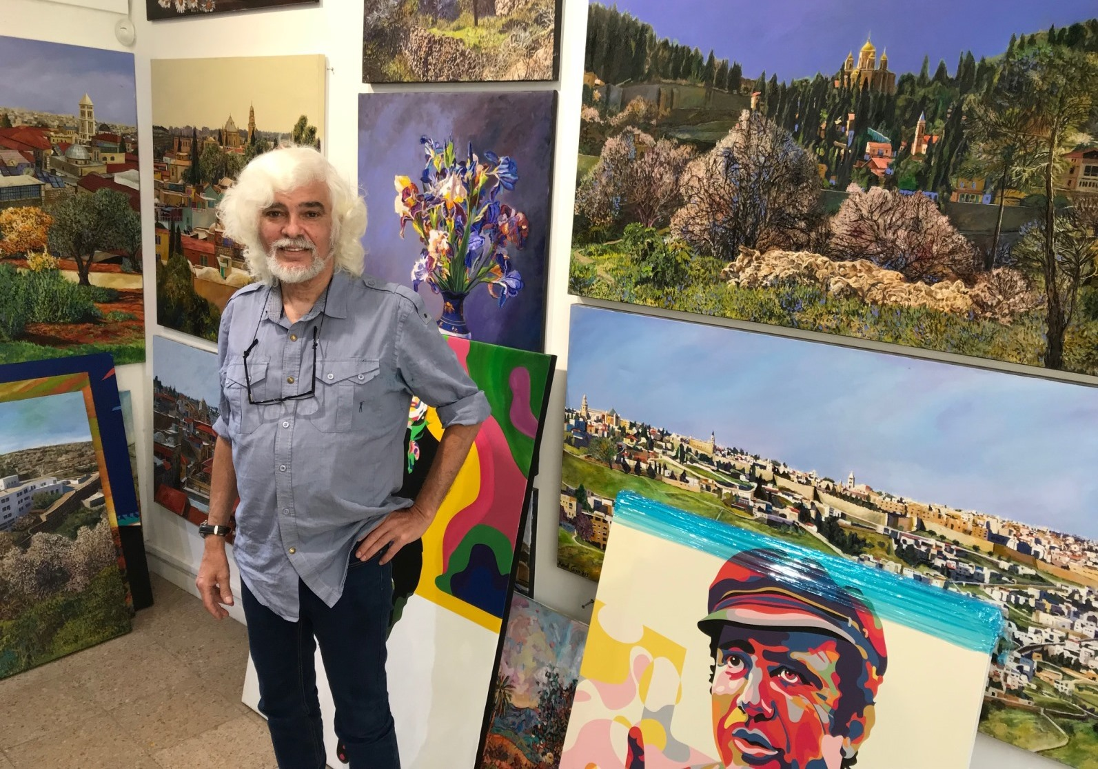David Harel in his Jerusalem Artists' Colony studio. Photo by Abigail Klein Leichman