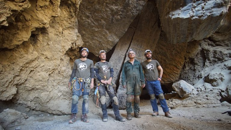 Explorers inside Malham Cave near the Dead Sea