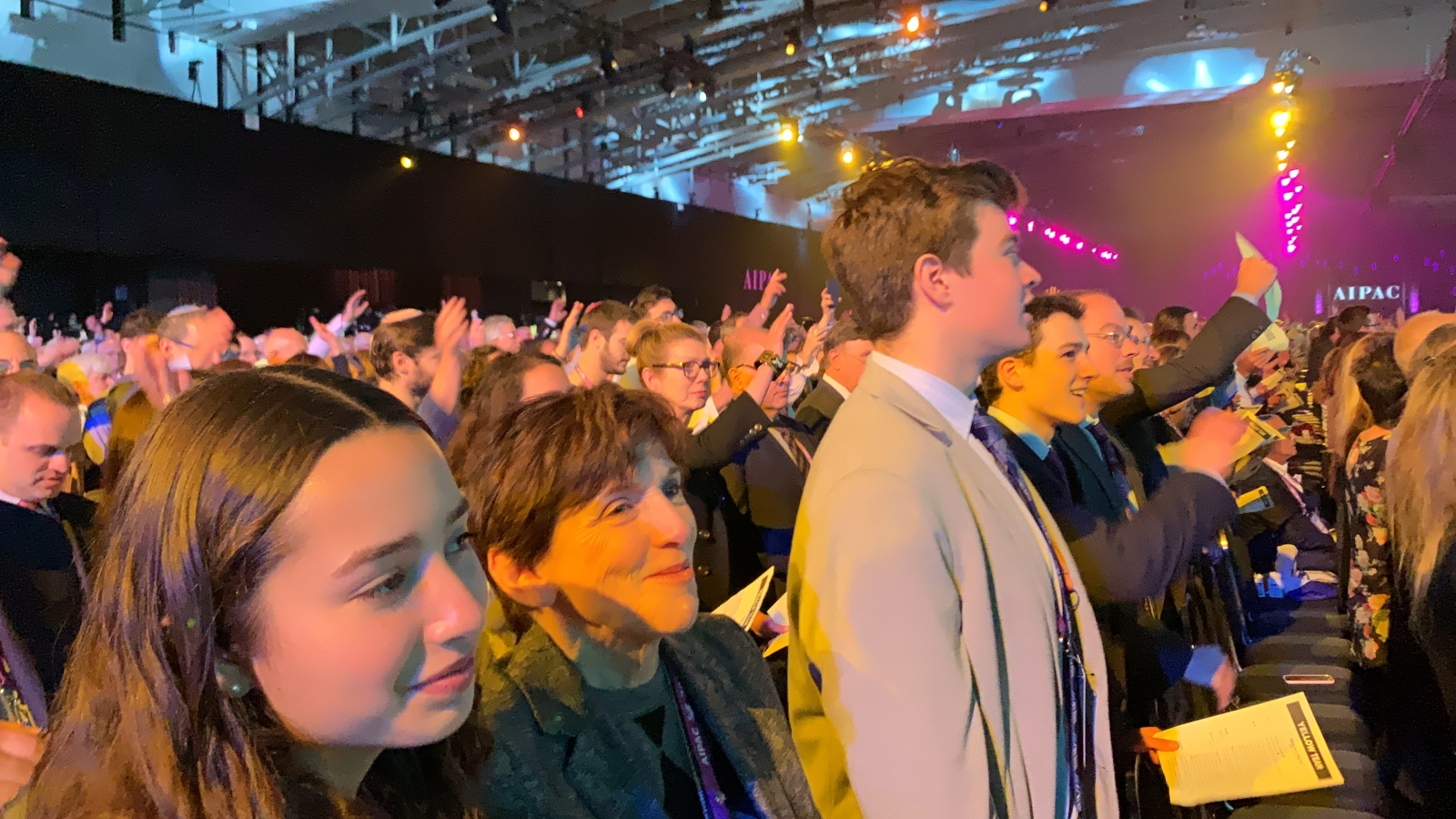 Amy Friedkin and her grandchildren join 18,000 AIPAC Policy Conference attendees in a mass singalong with Koolulam. Photo: courtesy