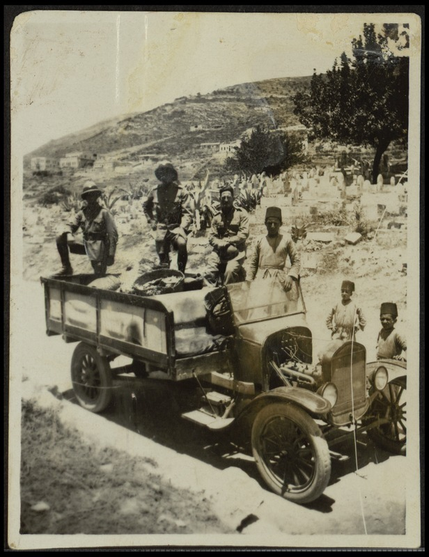 Days after the 1927 earthquake, the Nablus store manager for British grocery supplier Spinneys snapped a photo of this truck loaded with bread from Tel Aviv. Photo from National Library of Israel