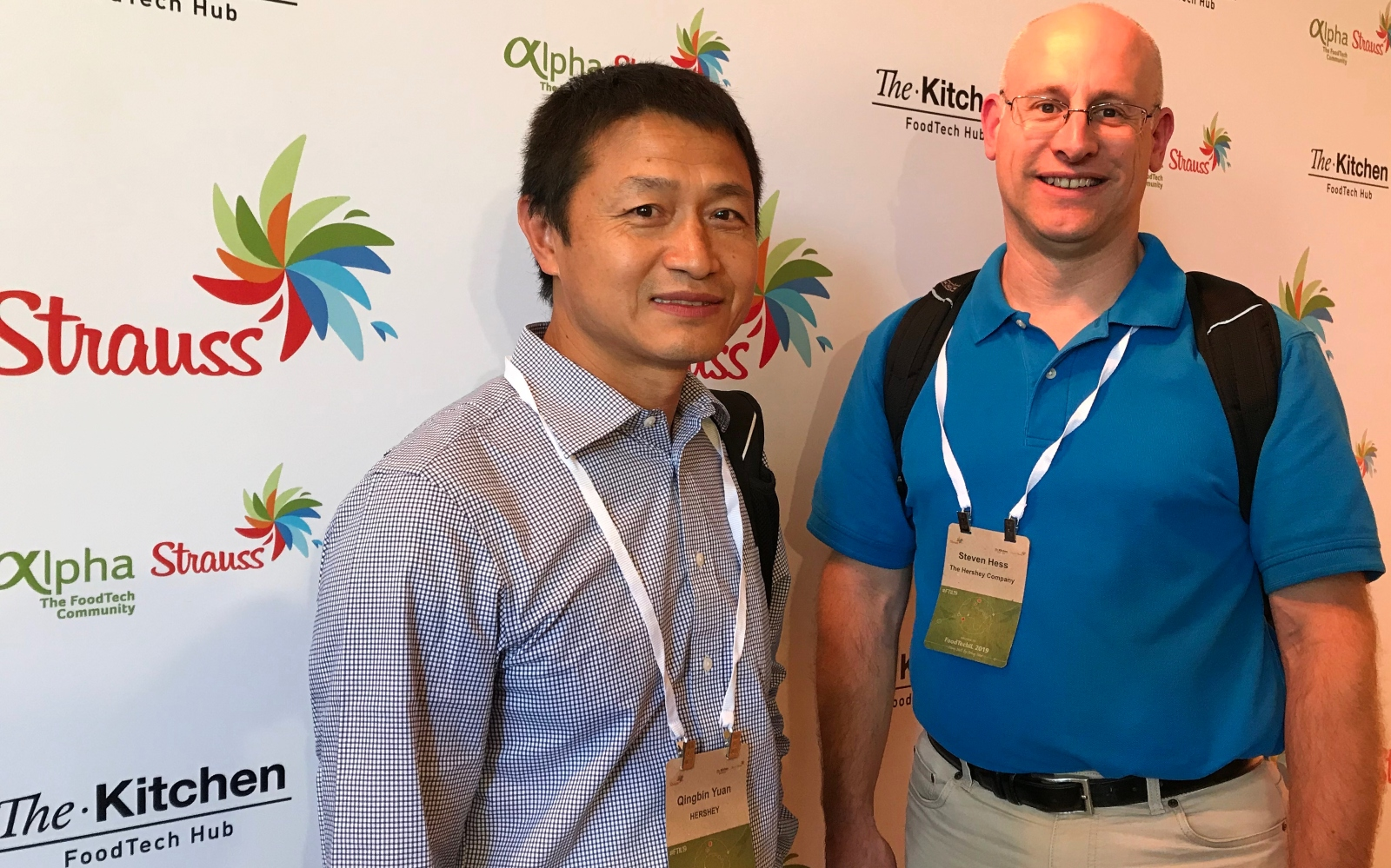 Qingbin Yuan and Steven Hess, R&D directors at Hershey, at FoodTechIL 2019. Photo by Abigail Klein Leichman