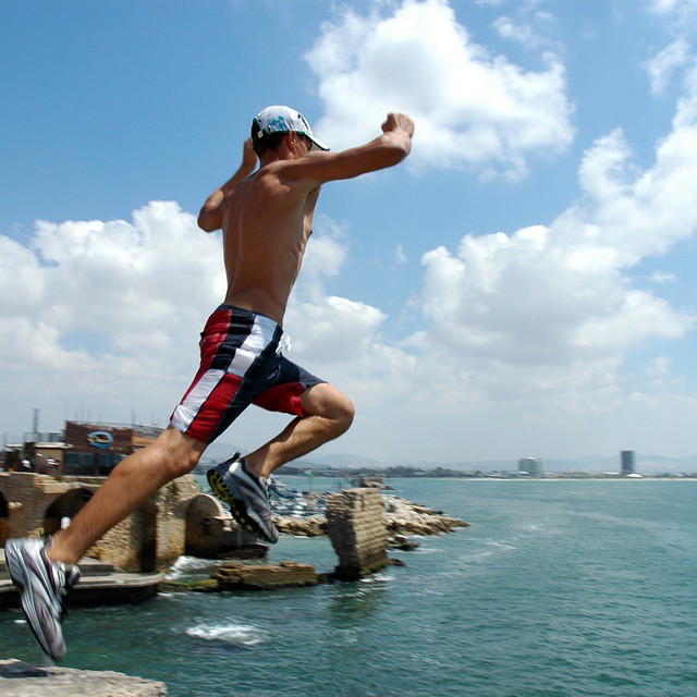 Go ahead... take the leap!  #Akko #Summer #Fun #ISRAEL21c.  by #Flash90