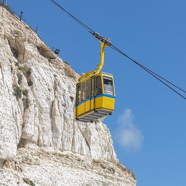 Rosh Hanikra\'s cable car is the steepest in the world and the views from the top are simply breathtaking. #Israel #RoshHanikra #Mediterranean