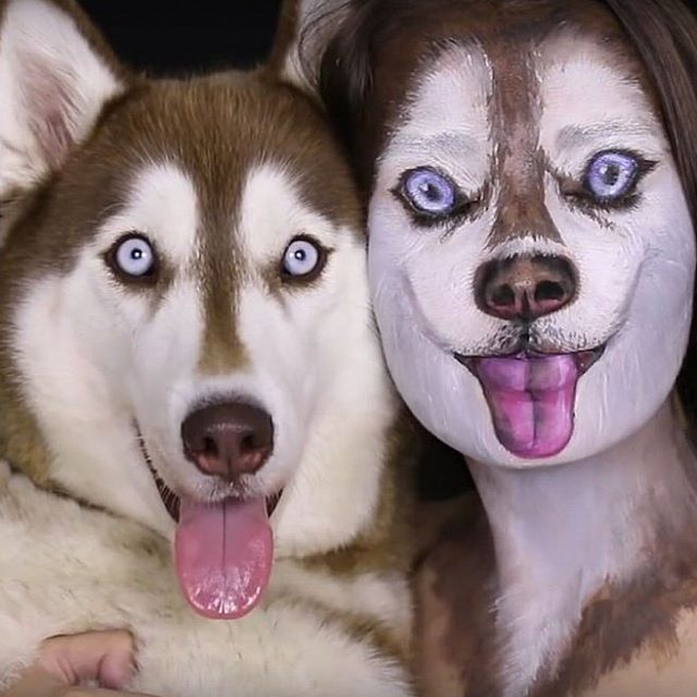Don\'t let your eyes deceive you! That\'s not a photo of two huskies. That\'s an Israeli makeup artist and her dog.  Ilana Kolihanov has the world  barking with joy at her phenomenal YouTube video that shows how she transforms herself into her dog.
